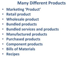 Many different definitions of Product.
